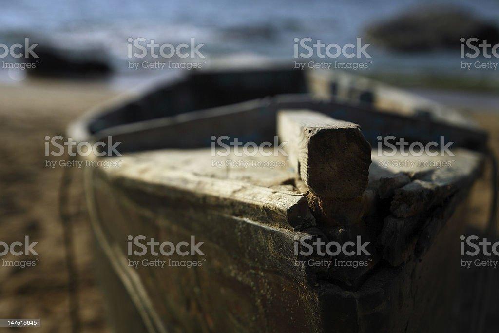 Abandoned wooden boat royalty-free stock photo