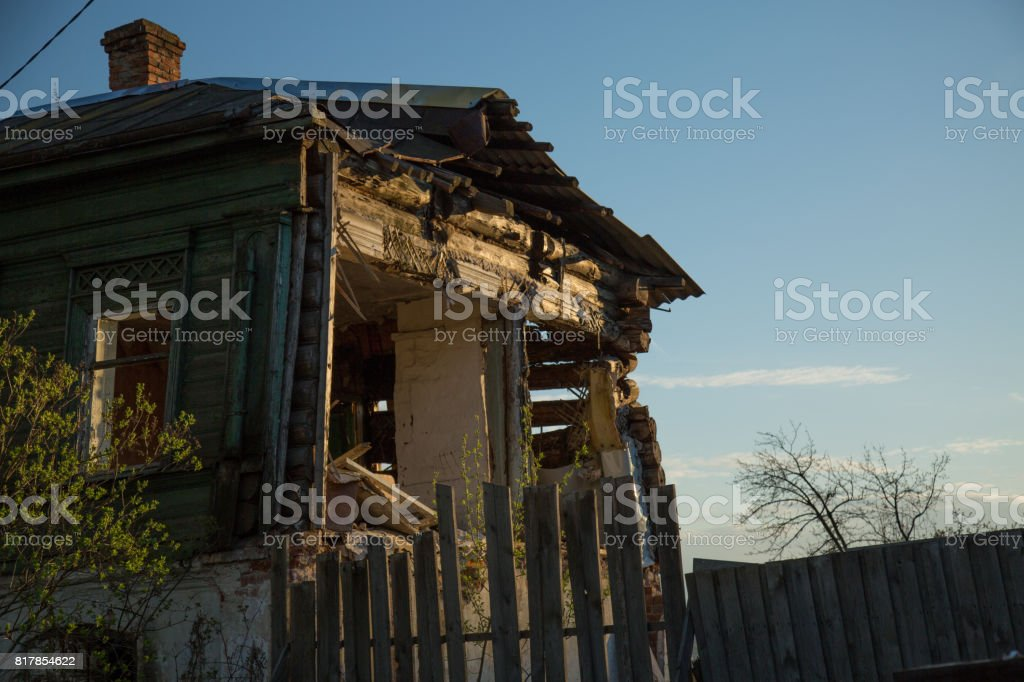 Abandoned wooden rural house exterior stock photo