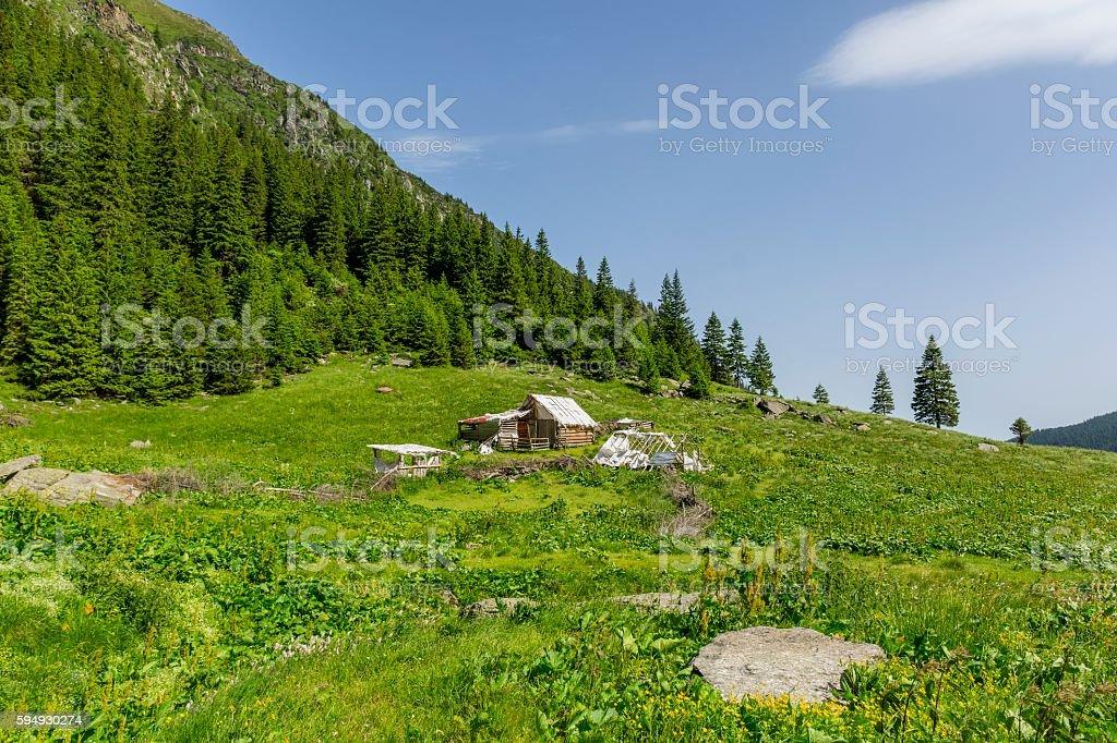 Abandoned wooden sheepfold in Carpathians near the mountain range stock photo
