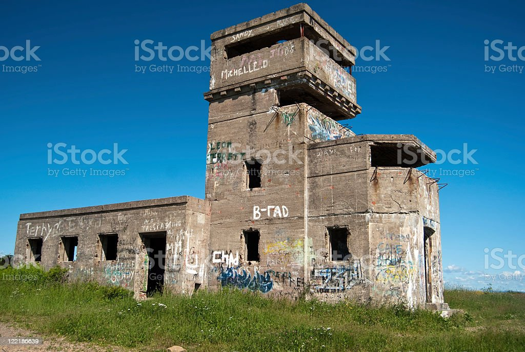 Abandoned WWII Observation Tower Bunker stock photo