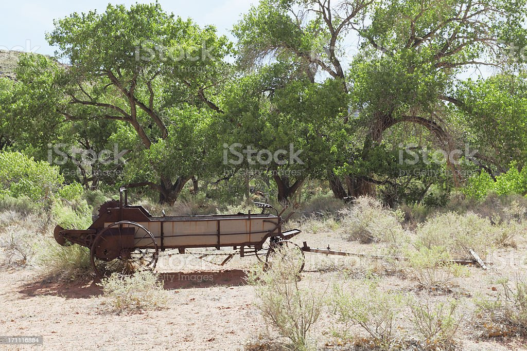 abandonned agriculture equipment on a field in Utah royalty-free stock photo