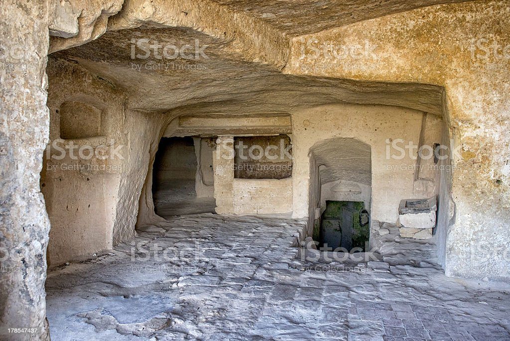 Abbandoned house in Cave dwellings Sassi di Matera stock photo