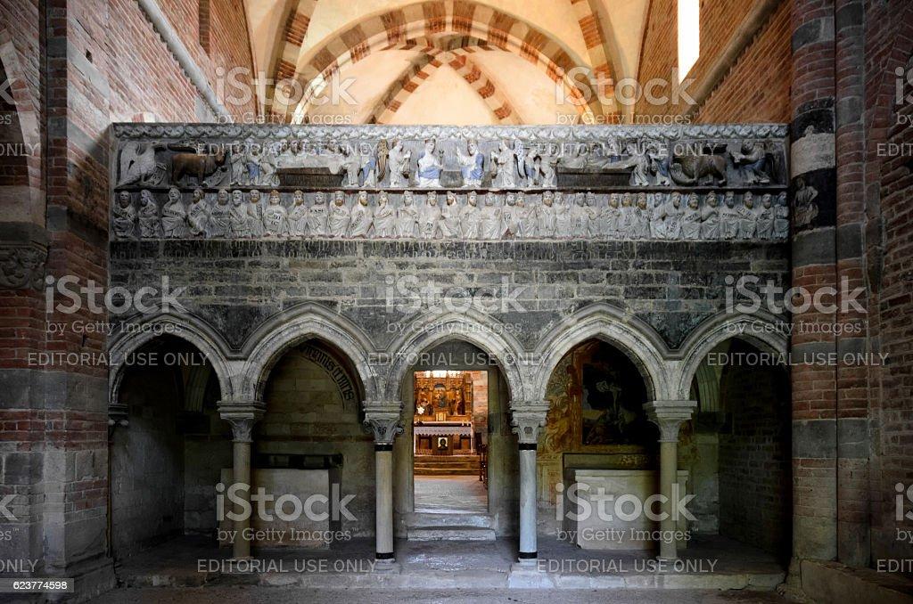 Abbazia di Vezzolano, interior stock photo
