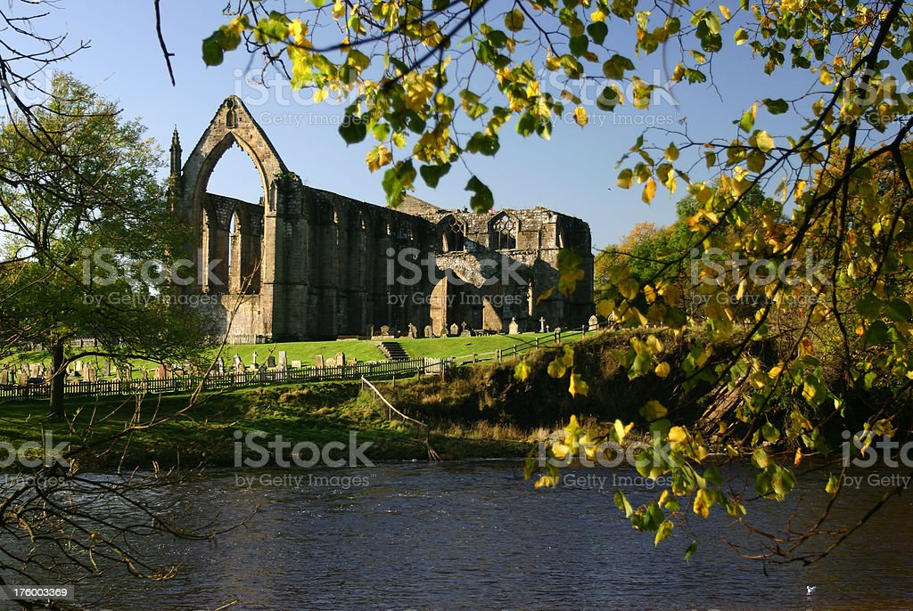 Abbey beside river, historic building Yorkshire royalty-free stock photo