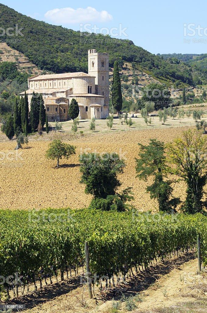 Abbey in Tuscany royalty-free stock photo