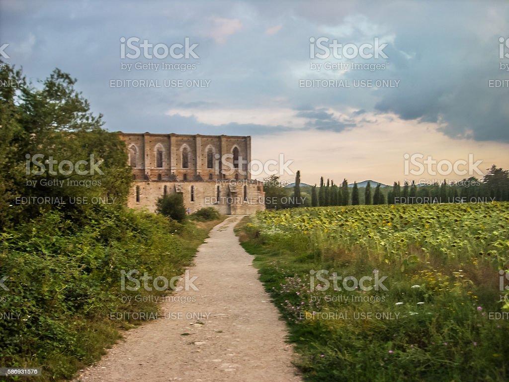 Abbey of Saint Galgano in Tuscany, Italy. stock photo