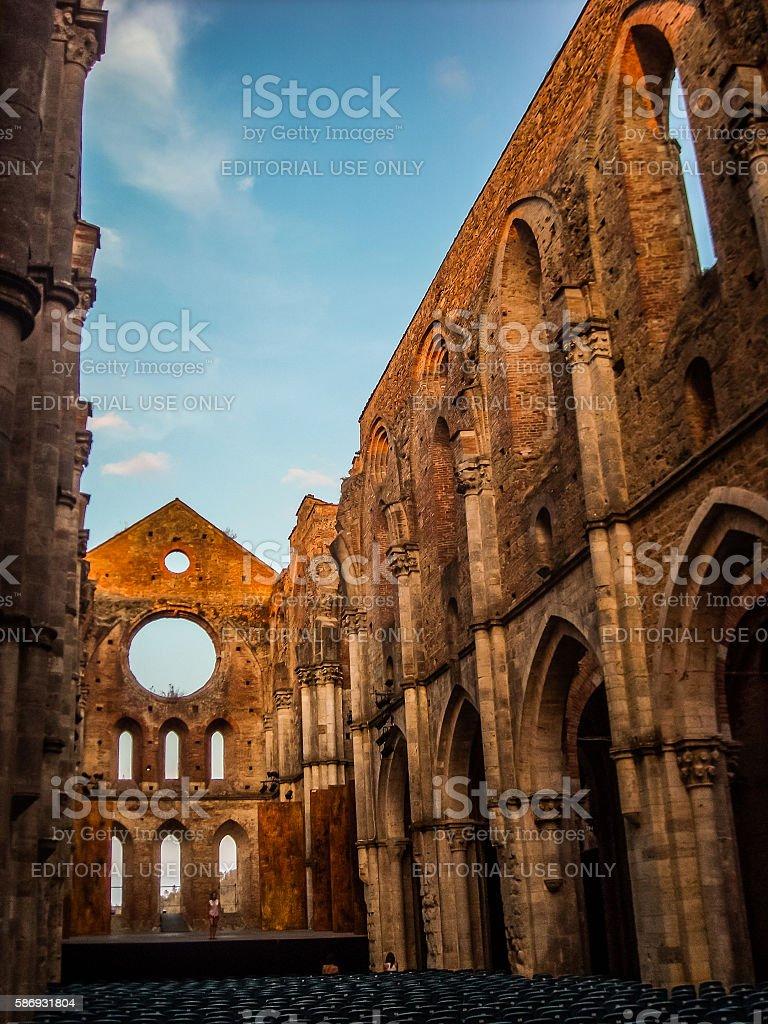 Abbey of Saint Galgano, Tuscany, Italy. stock photo
