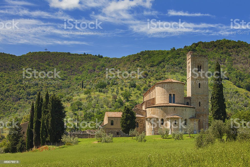 Abbey of Sant'Antimo in Tuscany, Italy stock photo