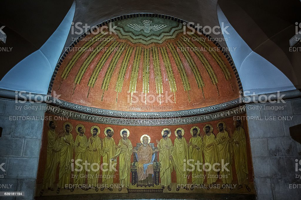 Abbey of the Dormition in Jerusalem . stock photo