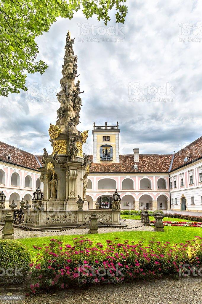 Abbey of the Holy Cross (Stift Heiligenkreuz) in  Vienna woods. stock photo