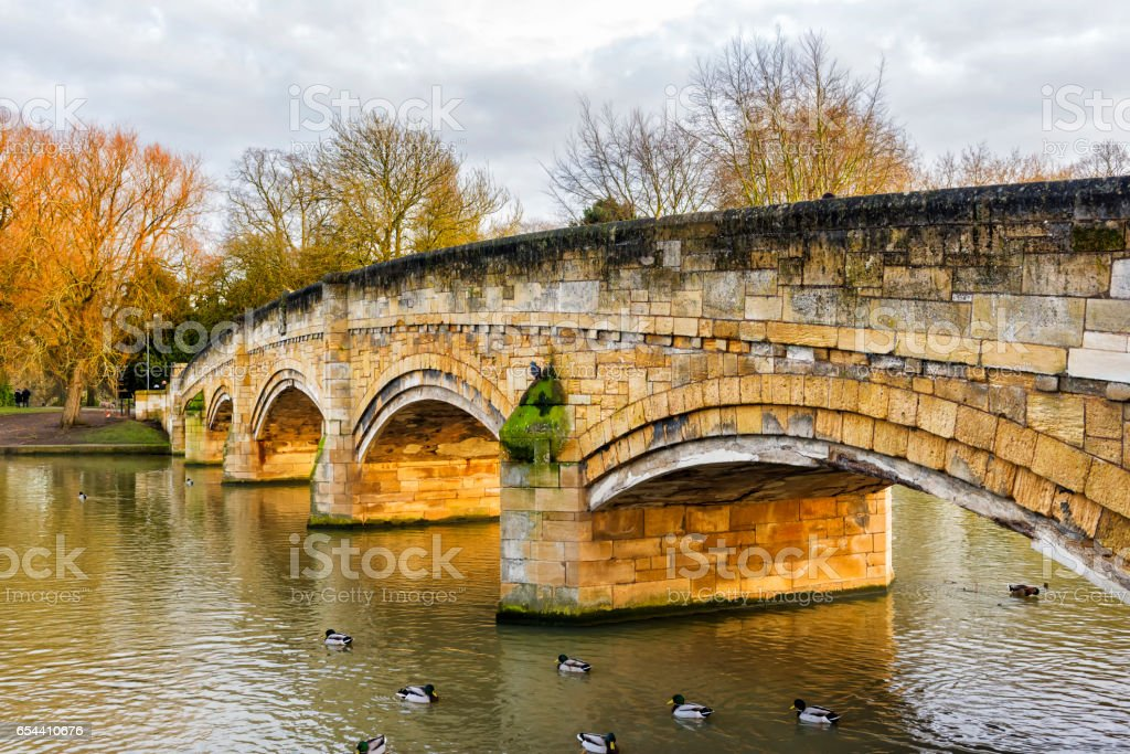 Abbey Park Bridge - Leicester, England stock photo