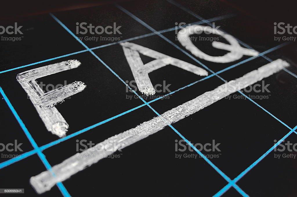 abbreviation FAQ handwritten on black chalkboard stock photo