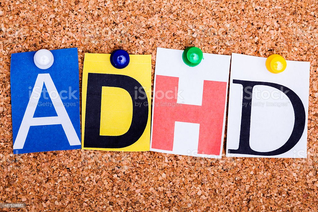 ADHD , abbreviation for Attention Deficit Hyperactivity Disorder stock photo