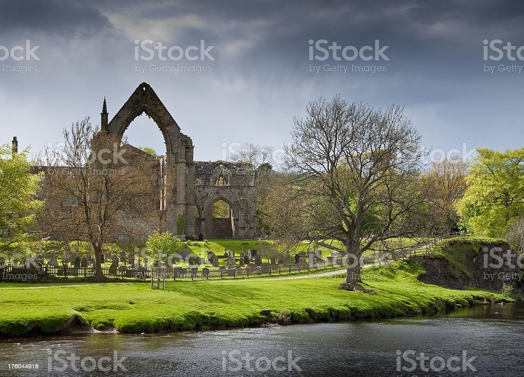 Abby Ruins with Cemetery in Yorkshire, England stock photo