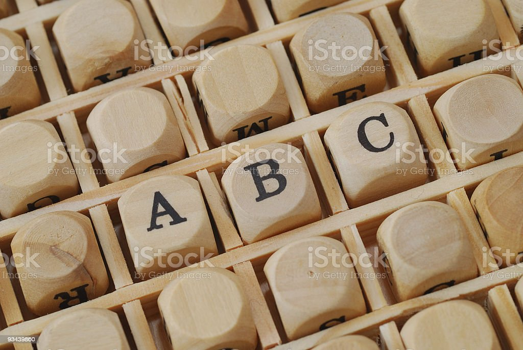 abc written with wodden characters stock photo