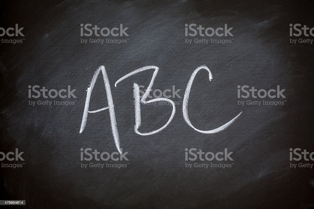ABCs Alphabet Chalkboard Background Charcoal Gray Chalk Board stock photo