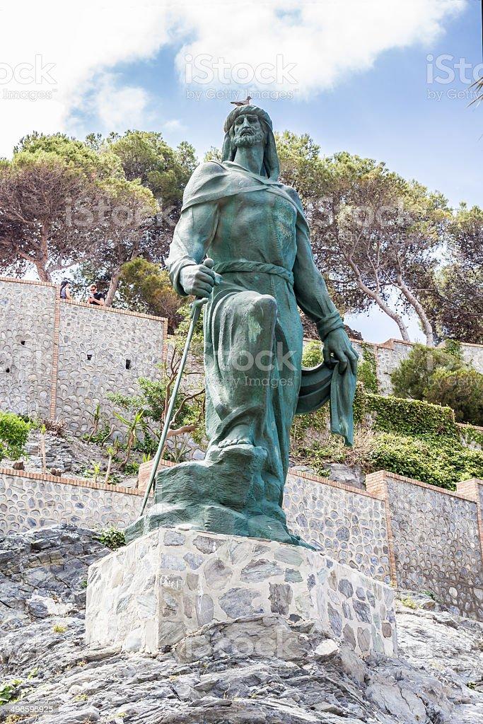 Abderrahman I statue in the town of Almu?ecar in Granada stock photo