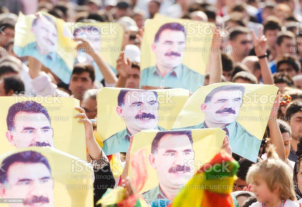 Abdullah Ocalan posters during a political rally stock photo