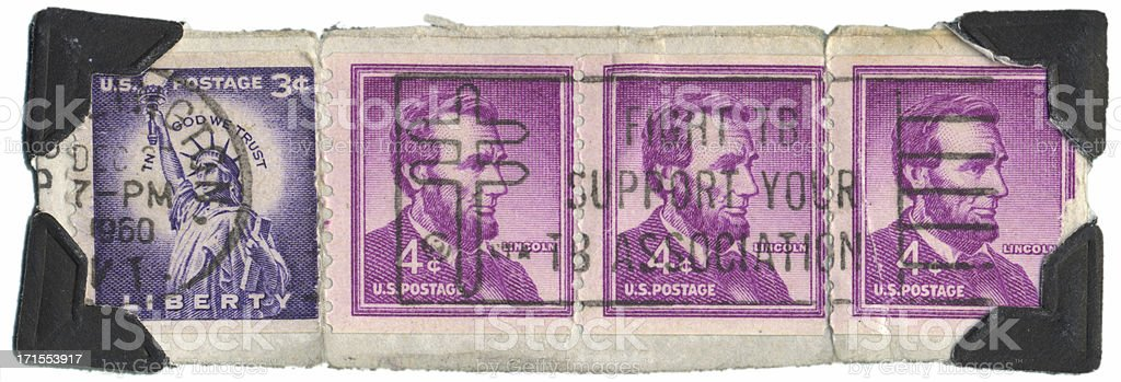 Abe and Liberty Stamps royalty-free stock photo
