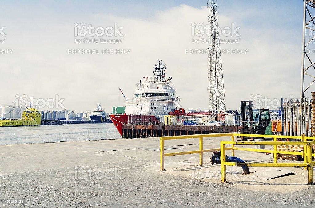 Aberdeen Harbor, Scotland stock photo