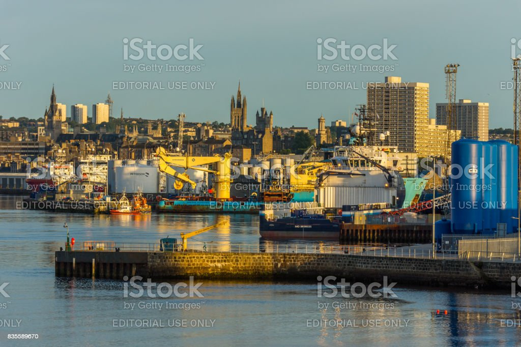 Aberdeen harbour and city. stock photo