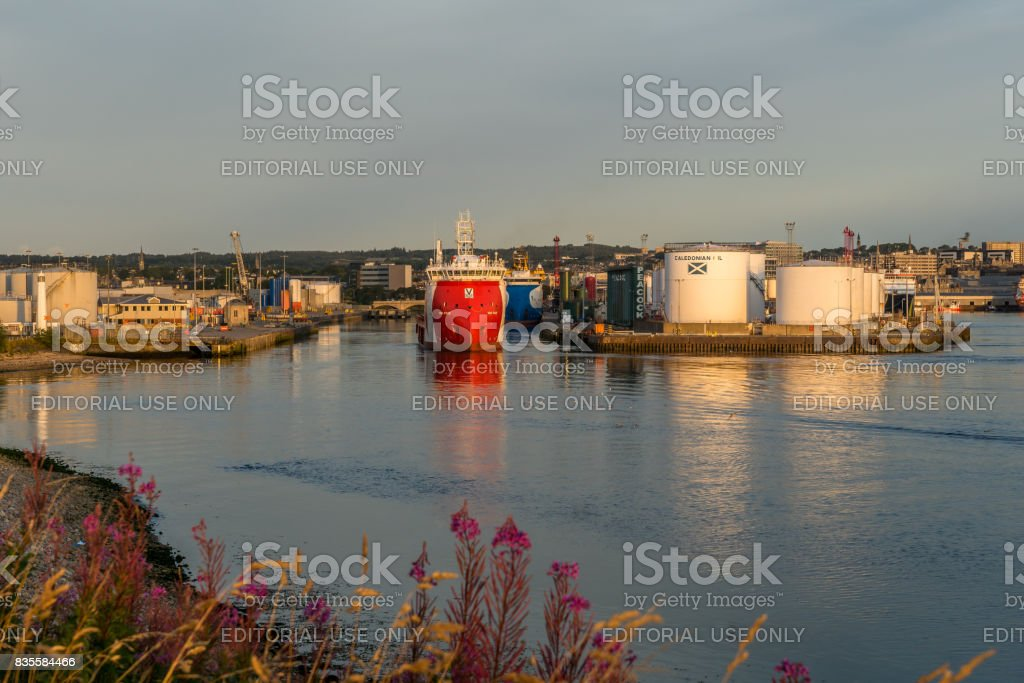 Aberdeen harbour and oil tanks. stock photo