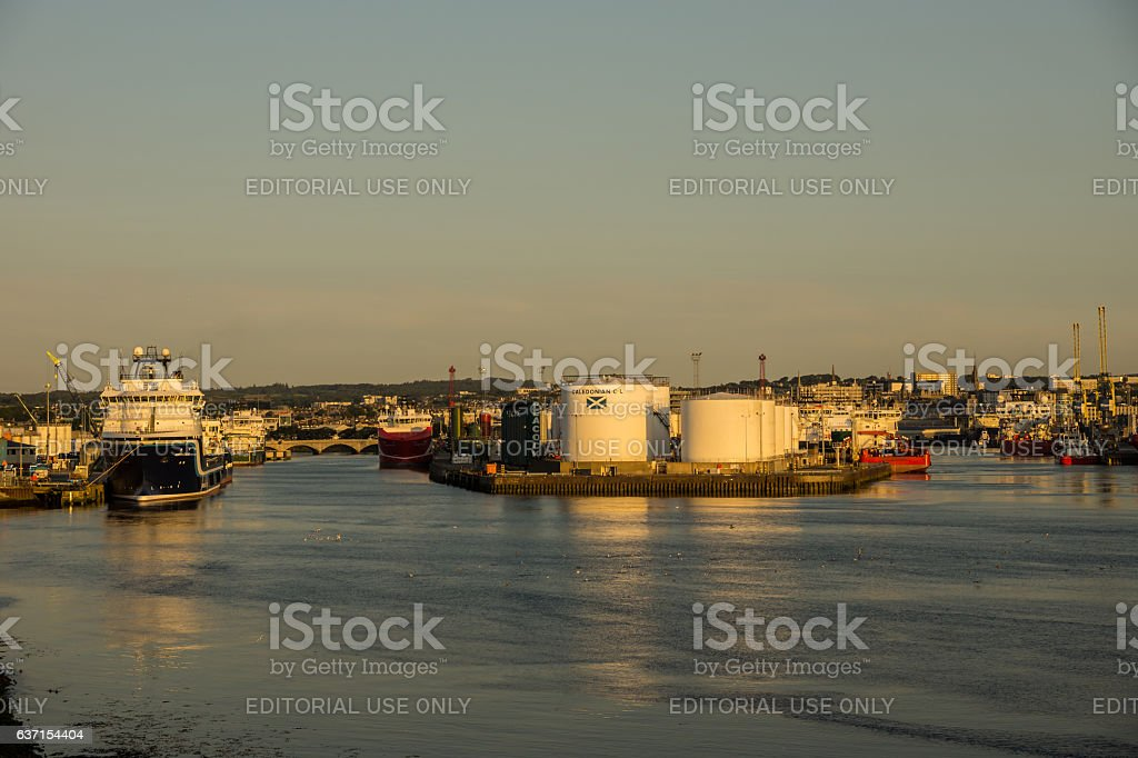 Aberdeen Harbour and the River Dee stock photo