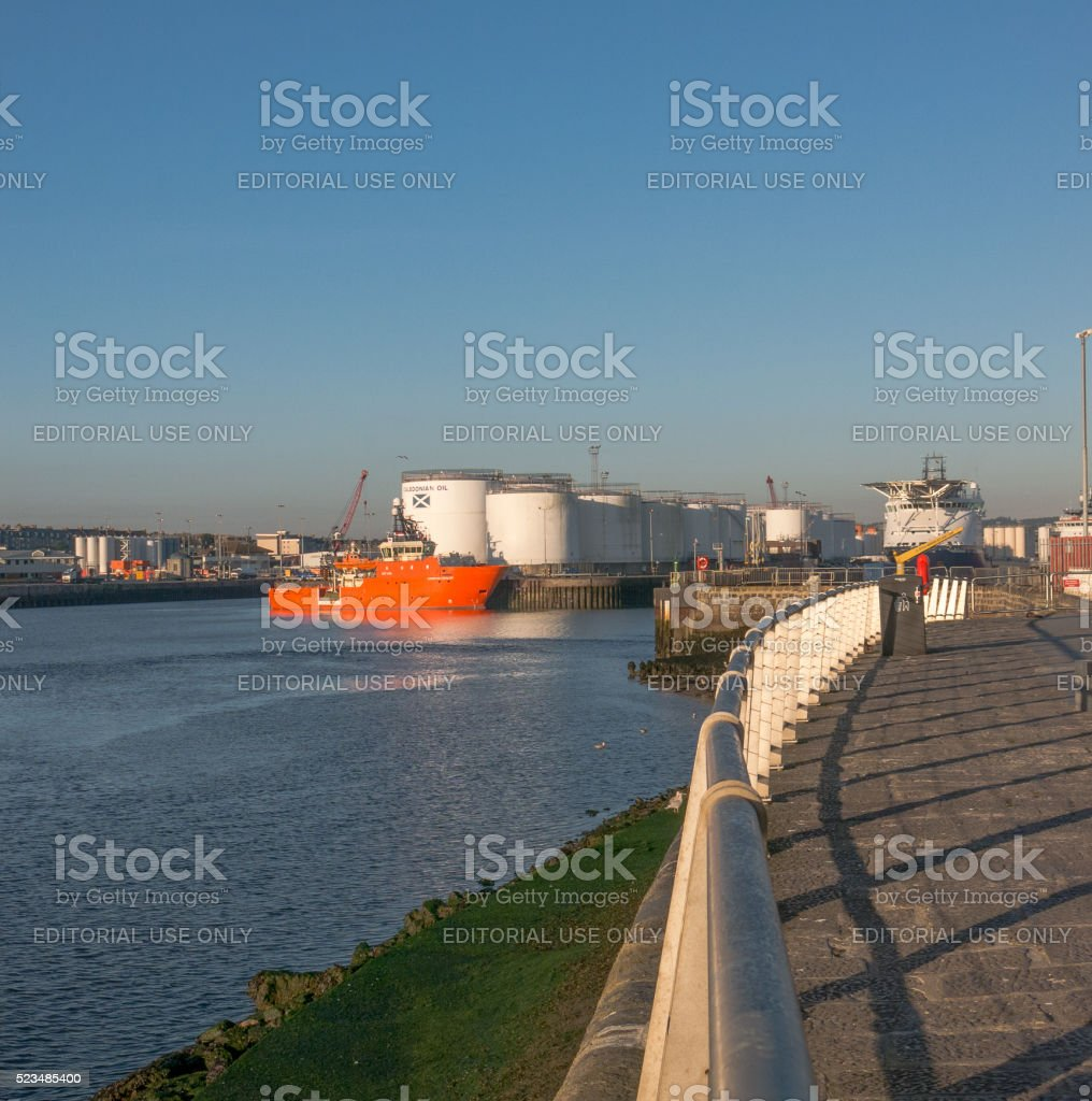 Aberdeen Harbour Oil & Gas Capitol stock photo