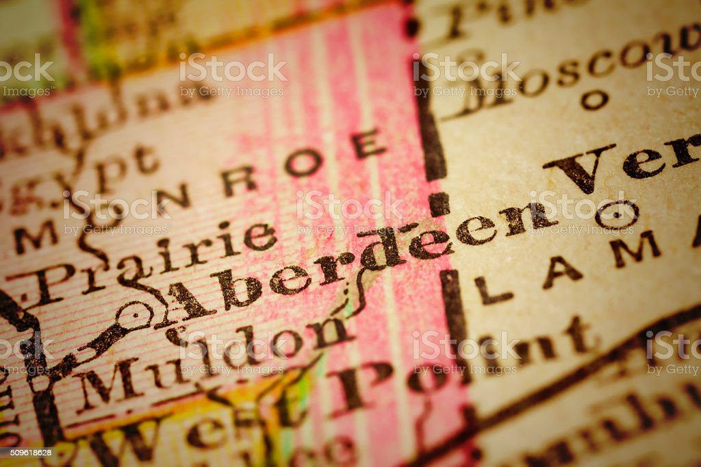 Aberdeen, Mississippi on an Antique map stock photo