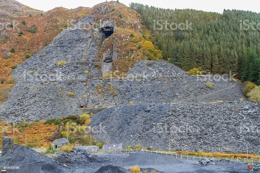 Aberllefenni slate quarry from public path stock photo