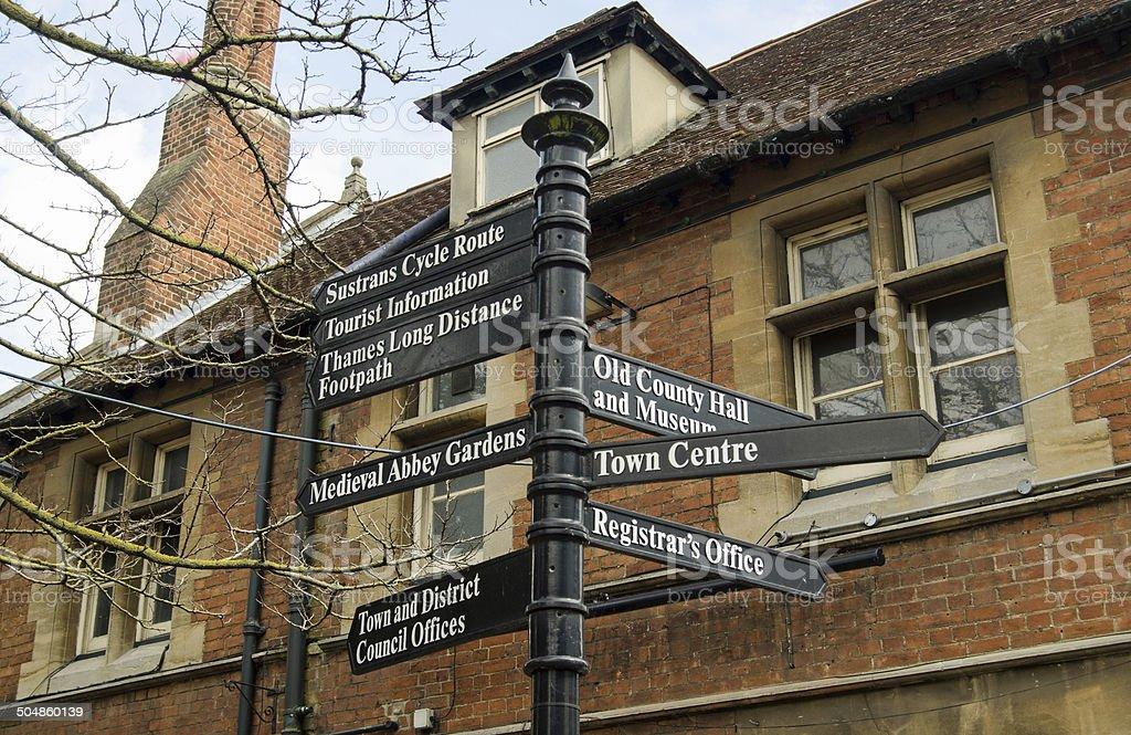 Abingdon Signpost, Oxfordshire stock photo
