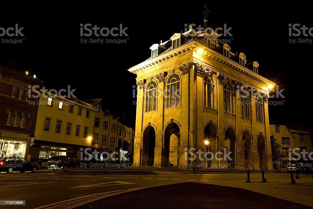 Abingdon Town Hall at Night stock photo