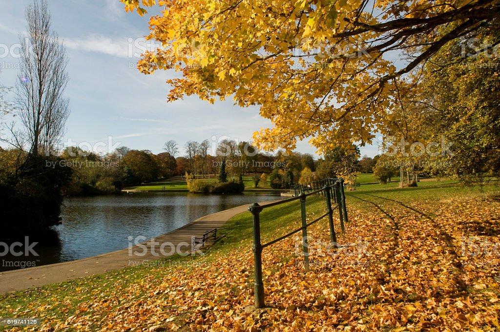 Abington Lake in Autumn stock photo