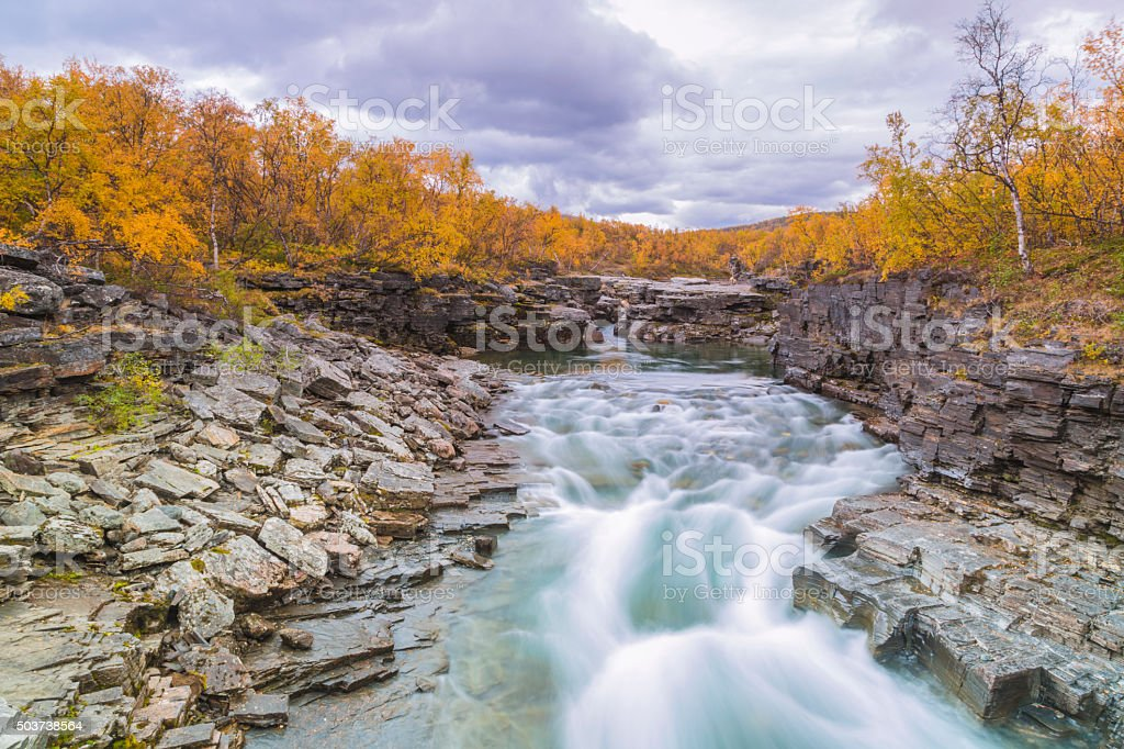 Abisko jokk in autumn with rock formations stock photo