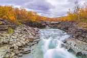 Abisko jokk in autumn with rock formations