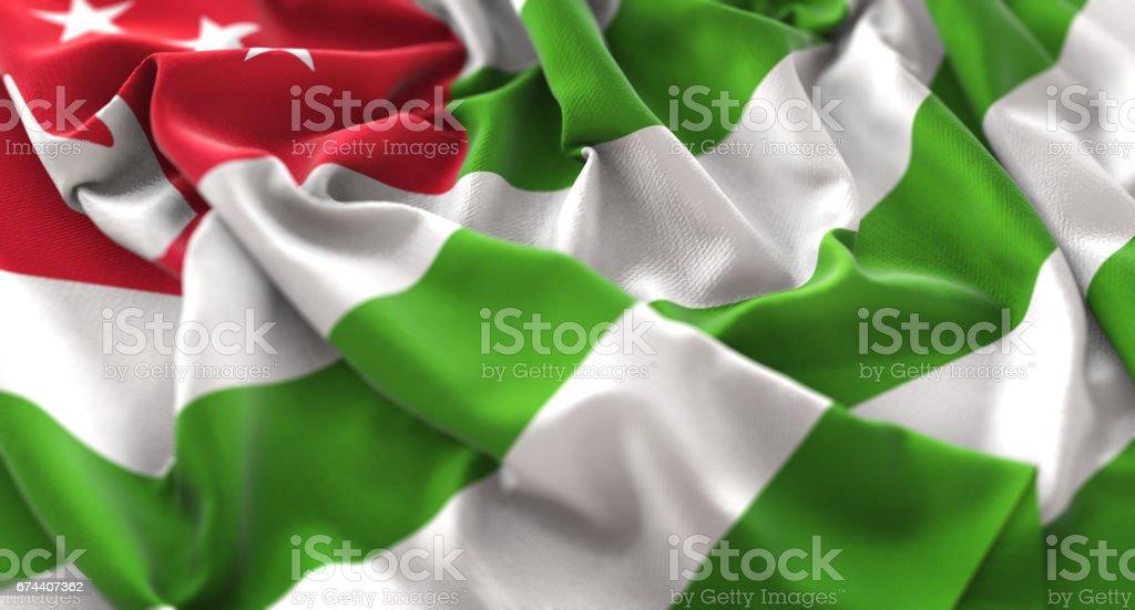 Abkhazia Flag Ruffled Beautifully Waving Macro Close-Up Shot stock photo