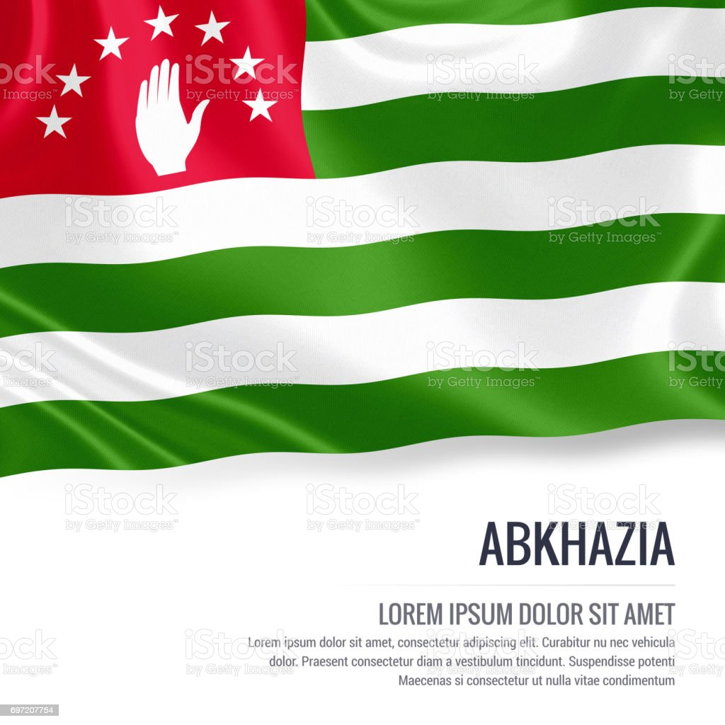 Abkhazia flag. Silky flag of Abkhazia waving on an isolated white background with the white text area for your advert message. 3D rendering. stock photo
