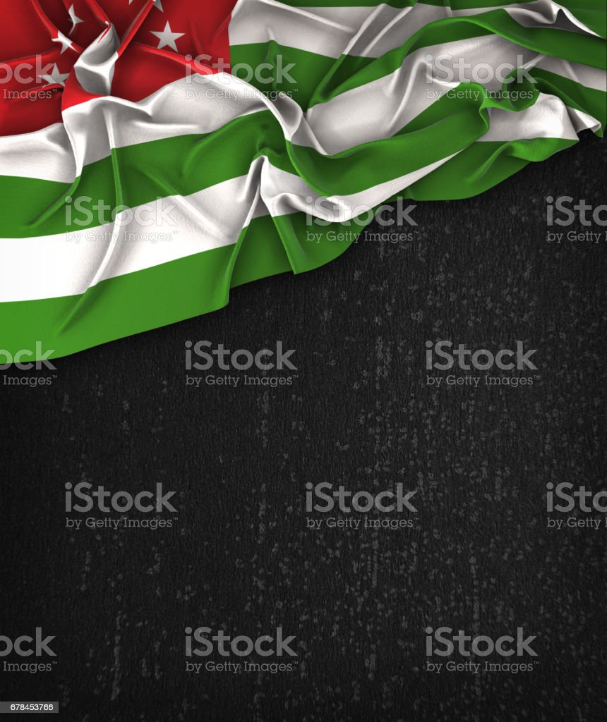 Abkhazia Flag Vintage on a Grunge Black Chalkboard With Space For Text stock photo
