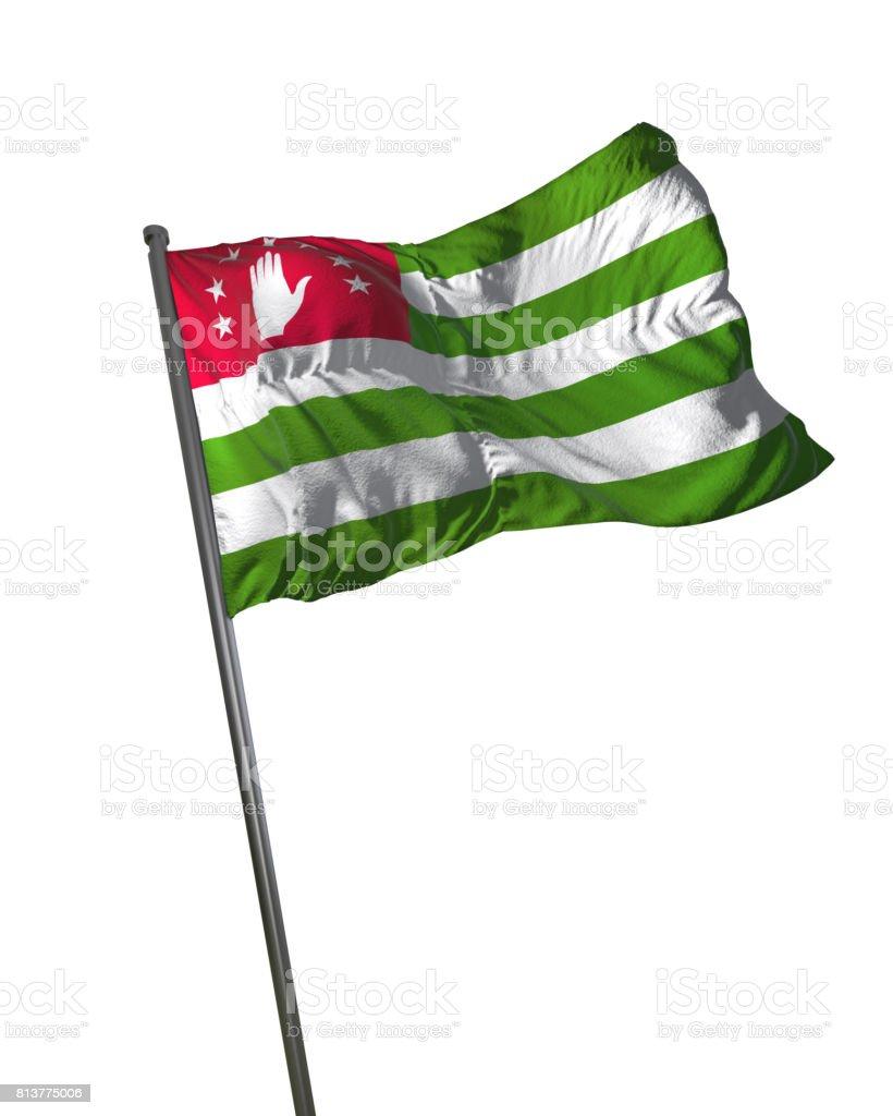 Abkhazia Flag Waving Isolated on White Background Portrait stock photo