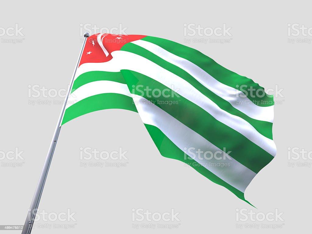 Abkhazia flying flag isolate on white background. stock photo
