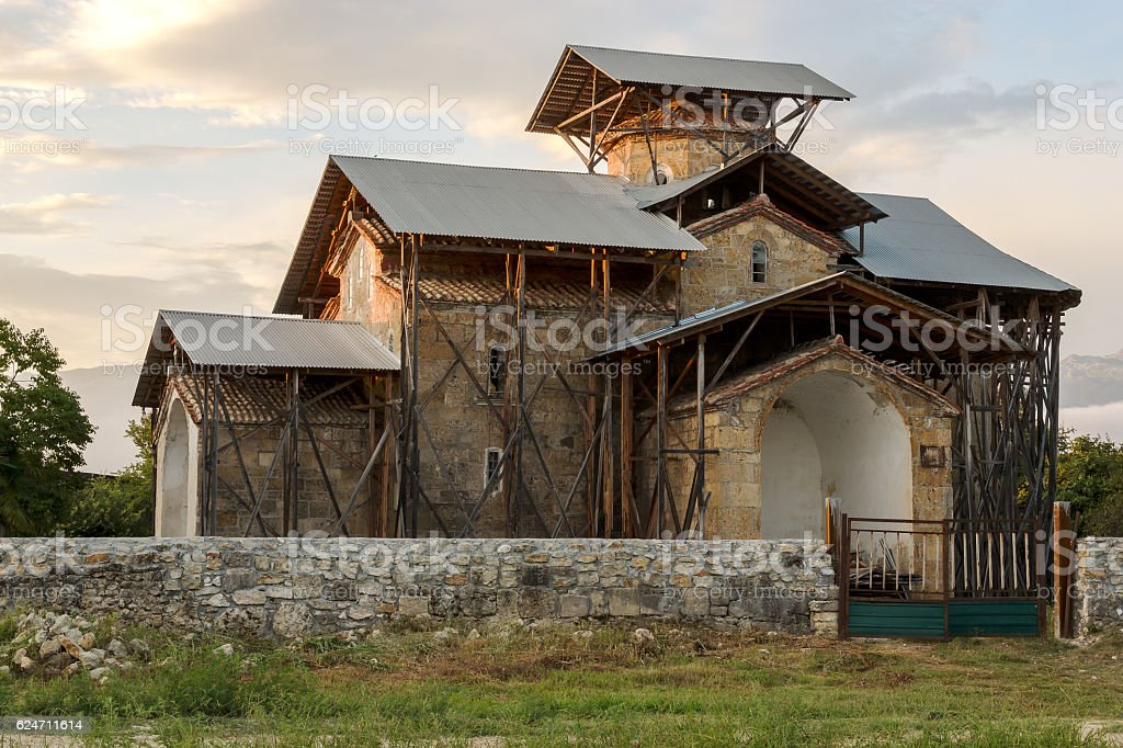 Abkhazia, Lykhny. The temple of the Dormition of the Theotokos stock photo