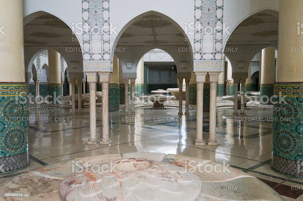 Ablution hall of the Mosque of Hassan II in Casablanca stock photo