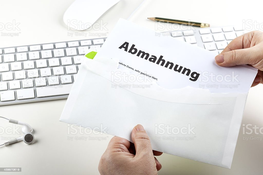 Abmahnung, Cease and desist order stock photo