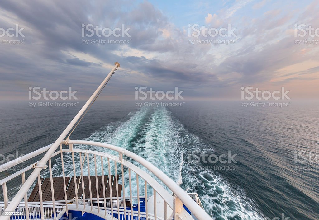Stern of a Cruise ship liner sailing across the Northsea