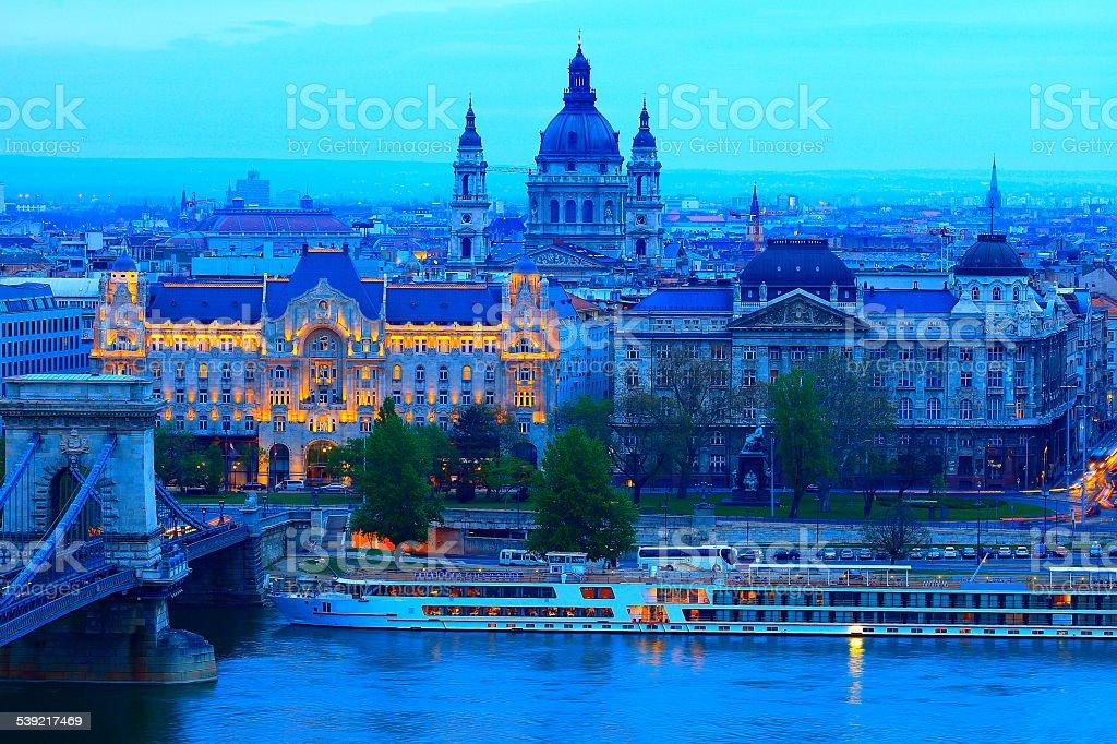 Abobe Budapest, Danube river at evening, Hungary stock photo