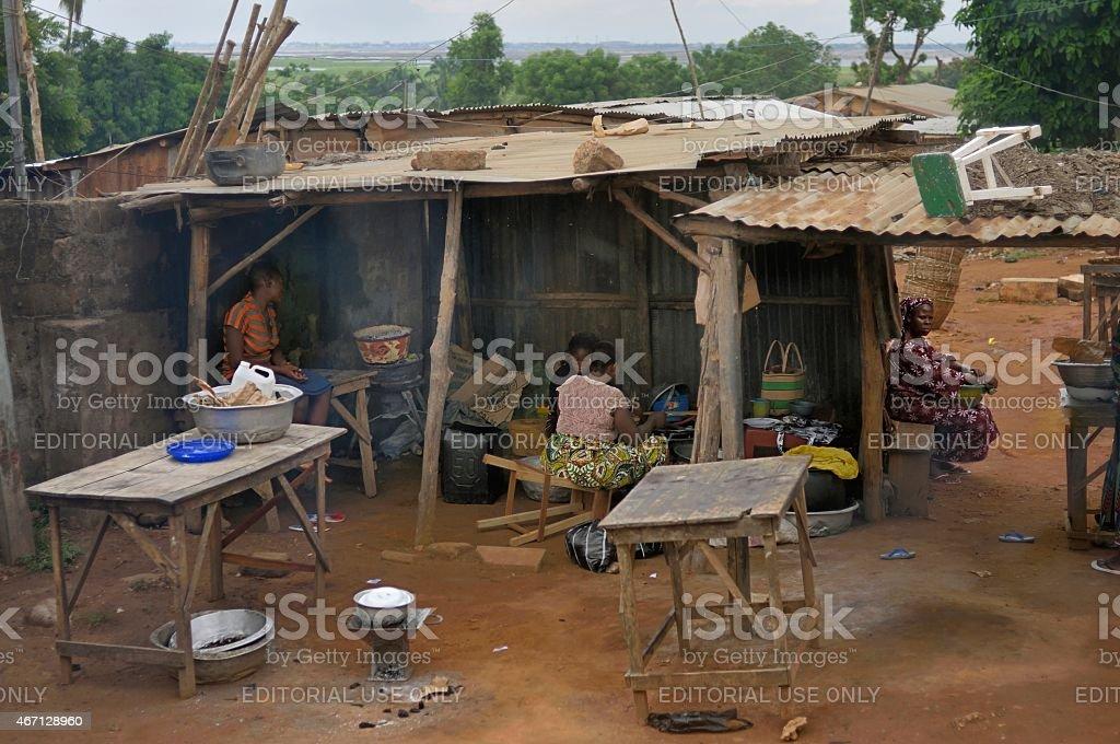 Abomey Calavi Roadside Shanty Cooking stock photo