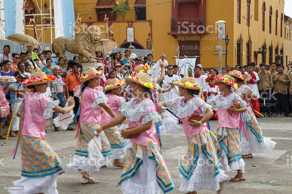 Aborigen dancers in typical dress celebrating on the street stock photo