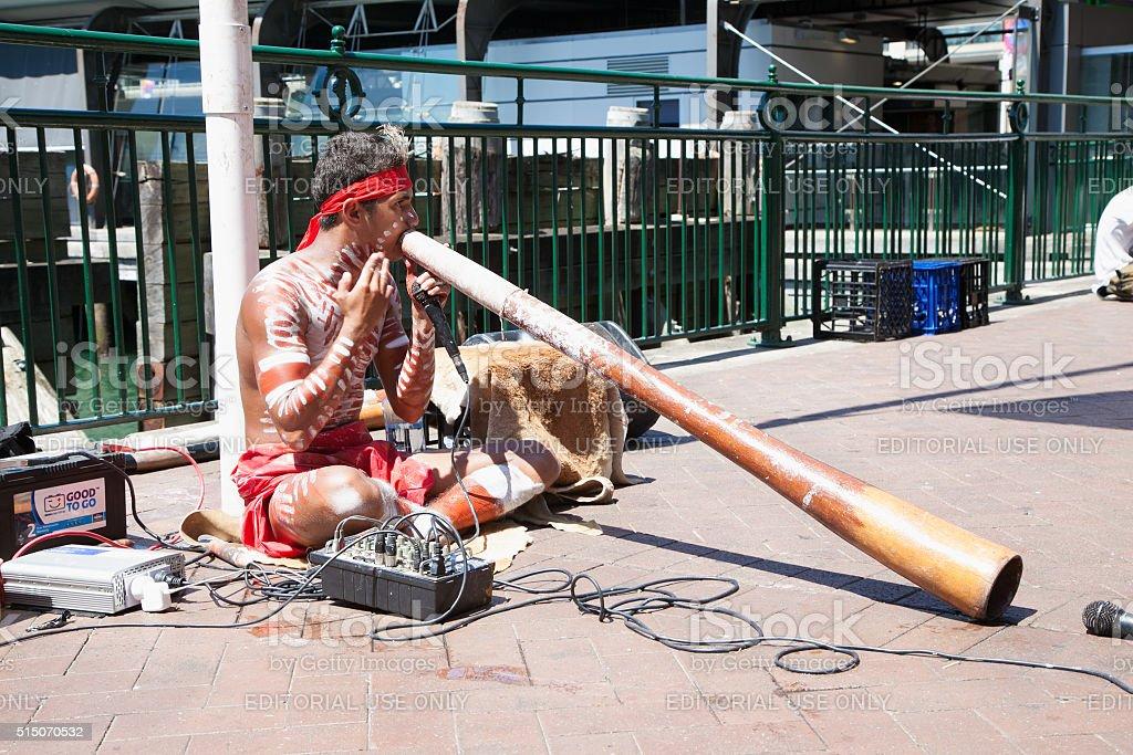 Aborigin performed music at harbour in Sydney,Australia stock photo