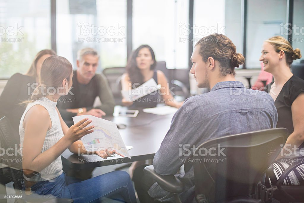 Aboriginal businesswoman talking on a meeting stock photo