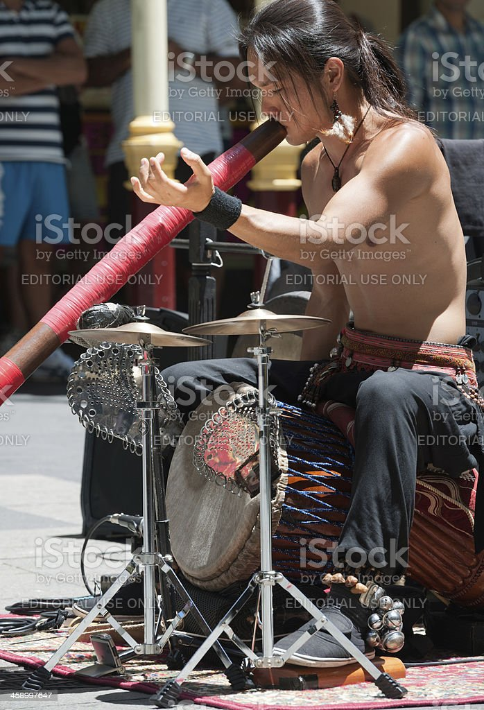 Aboriginal Didgeridoo Artist, Downtown Sydney, Australia royalty-free stock photo